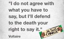 """I do not agree with what you have to say, but I´ll defend to the death your right to say it."" (Friends of Voltaire)"